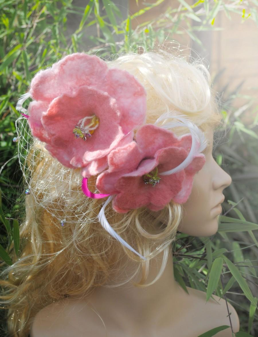 Mariage - Pink Fascinator with Birdcage Half-veil 100% Merino Wool