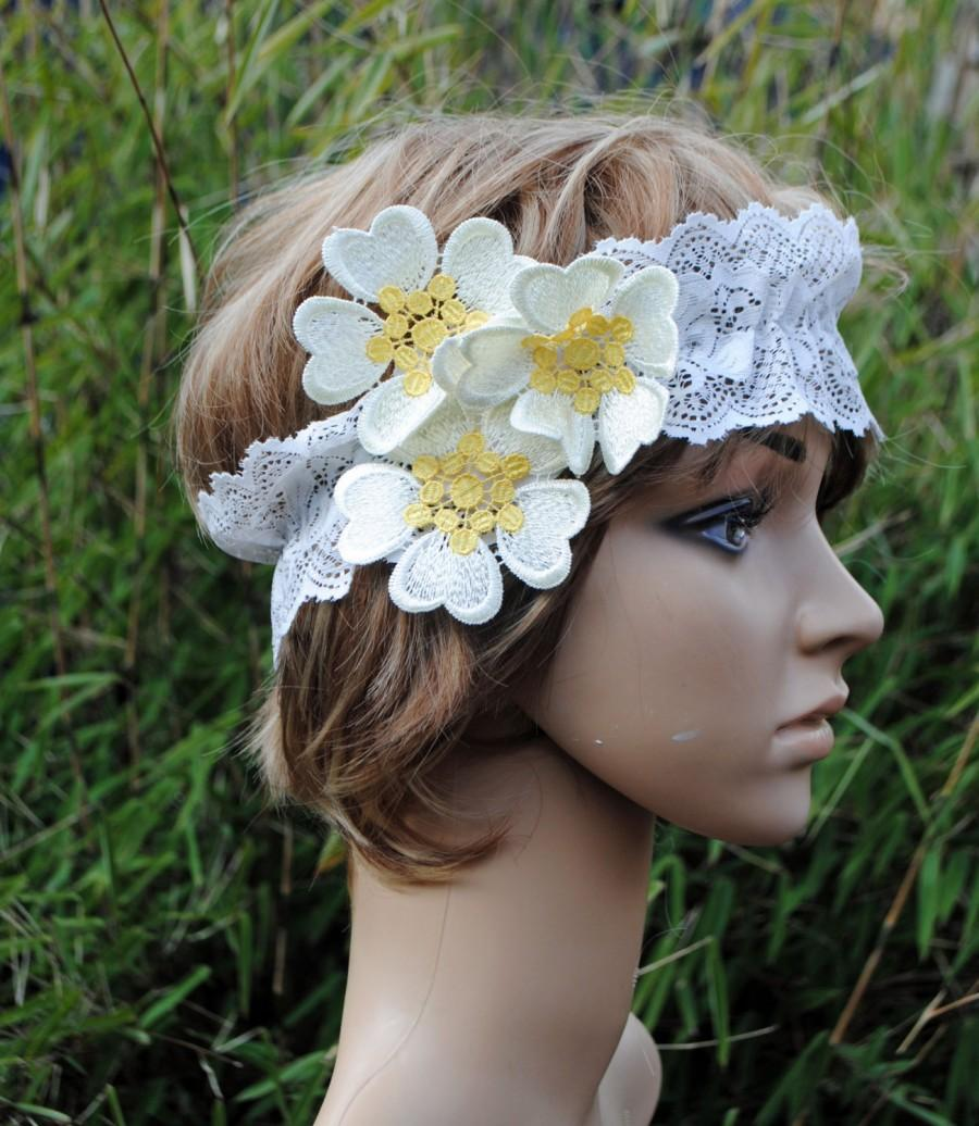 Mariage - Boho Daisy headband Ivory Lace and Guipure Lace Daisy Flowers Summer Headband or Country Wedding