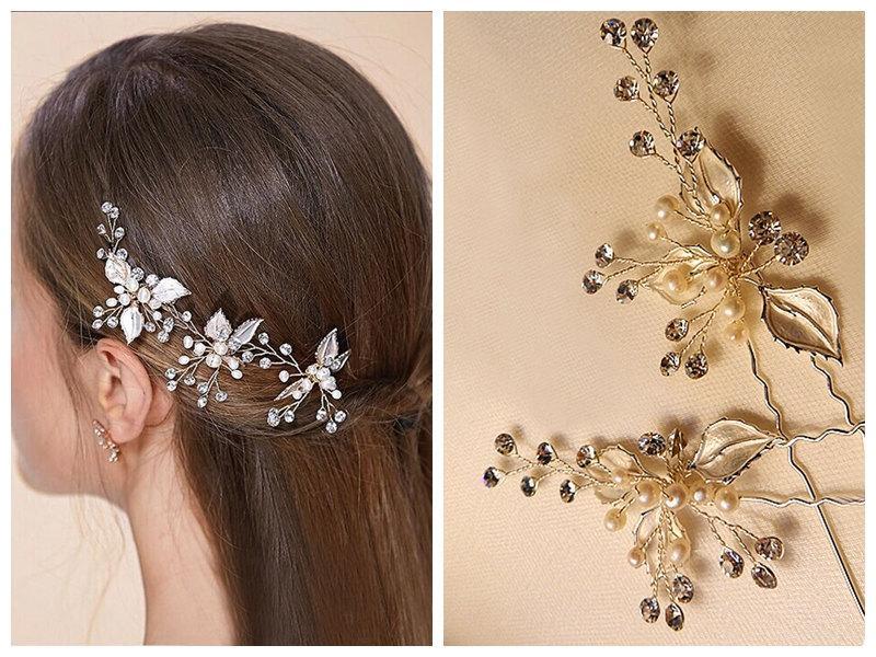 Mariage - Floral Swarovski hair pin,  Vintage inspired wedding headpiece,Bridal pearl hair comb.Wedding hair clip