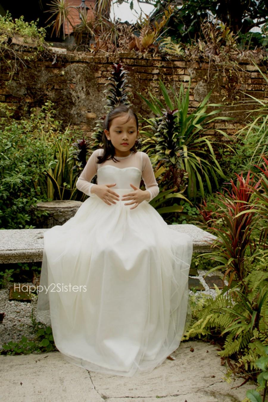 Long Sleeve Flower Girl Dress Flower Girl Dress Ivory Flower Girl