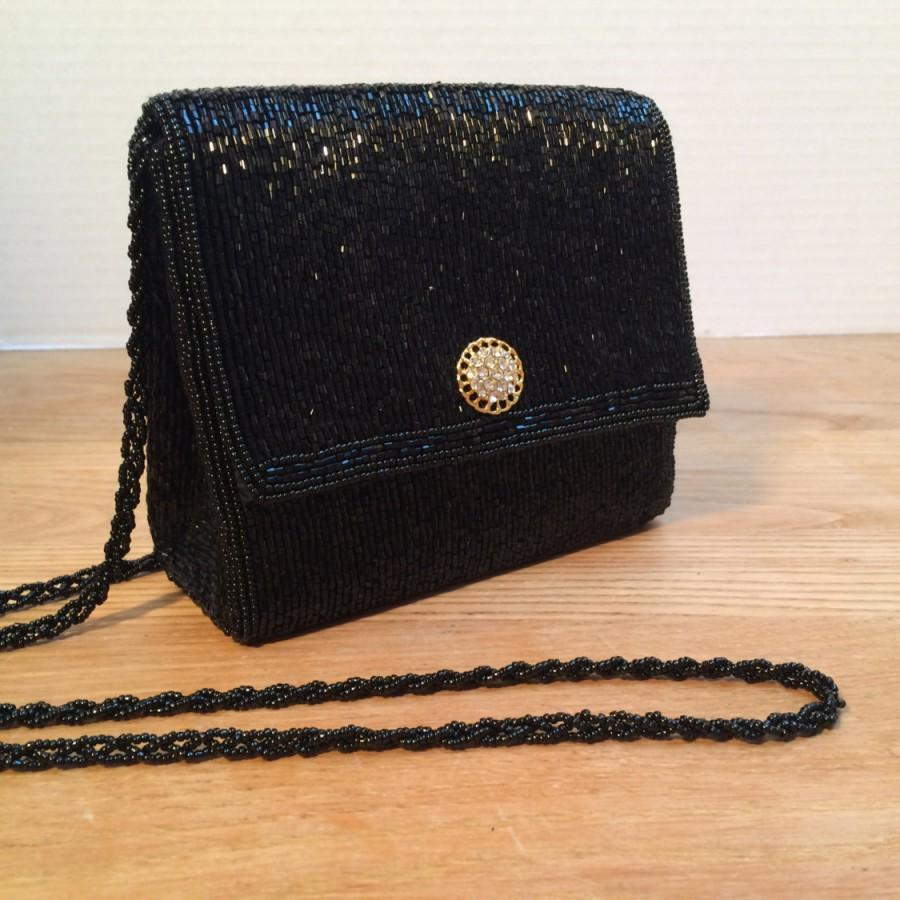 La Regale Vintage Purse Black Bugle Beaded Evening Bag Classic All Handbag Style No 1564