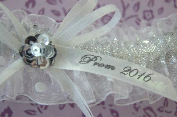 Hochzeit - Prom garter, Silver Prom Garter, White Prom Garter, Wedding Garter, Garter, Silver Garter