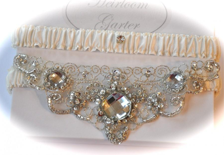 Hochzeit - Wedding Garter Set Ivory Garter Set with Platinum Crystal Beaded Jewel Centering