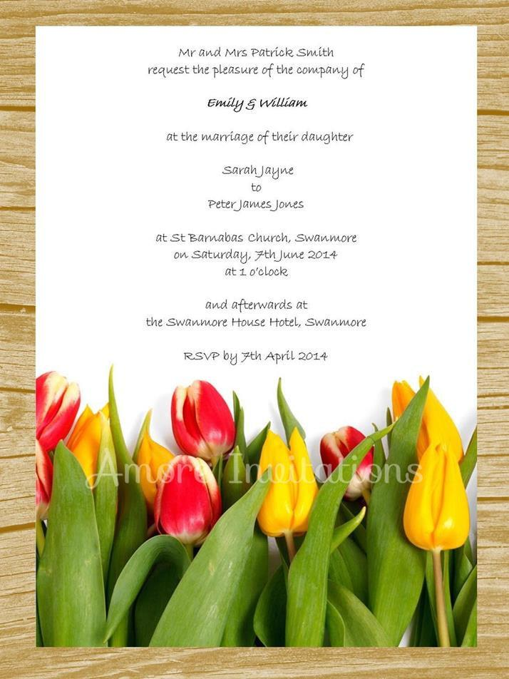 Diy Digital Printable Yellow Red Tulips Wedding Birthday Party