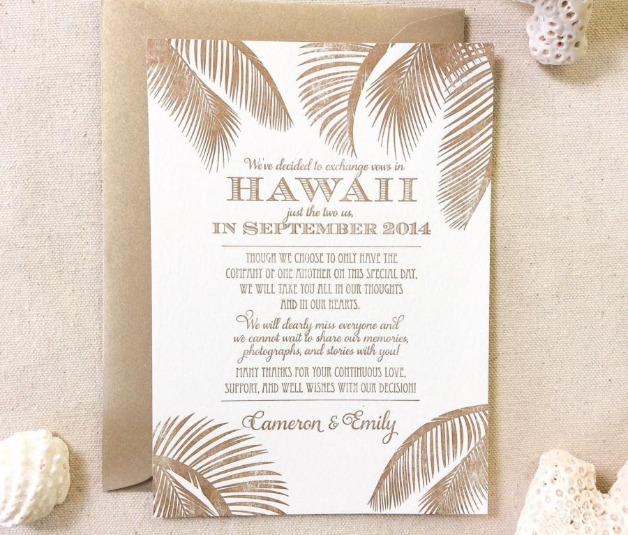 Wedding - The Leilani Suite - Letterpress  Elopement Announcement - Sample, Hawaii, Destination Wedding, Classic, Nautical, Beach, Palm Trees, Florida