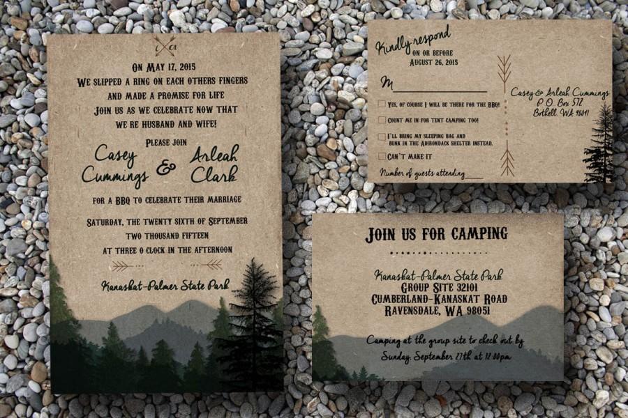 Rustic Wedding Invitation Woodsy Wedding Invitation Camping