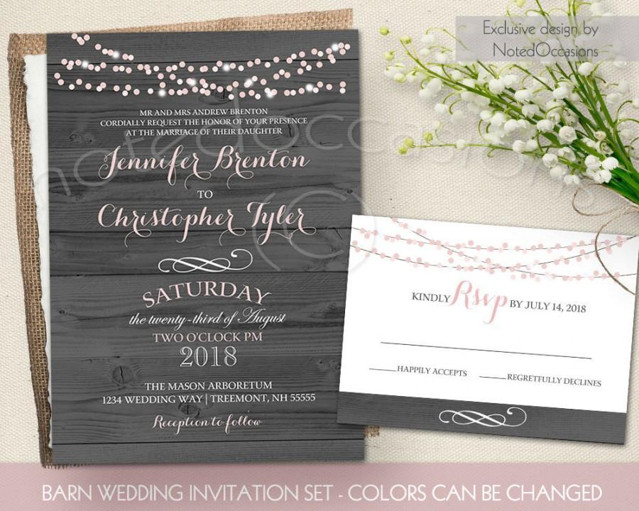 String Lights Wedding Invitation : Rustic Wedding Invitation Printable - String Lights Barn Wedding Invitation, Country Wedding ...