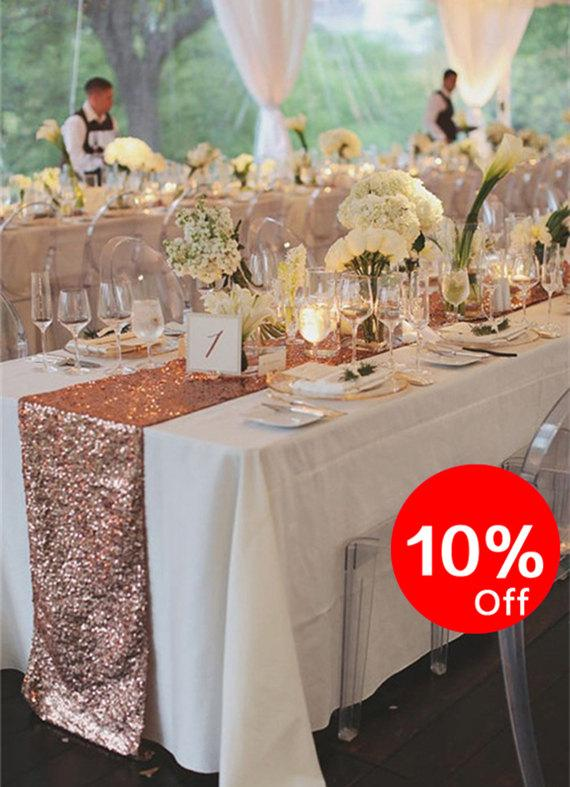 Mariage - 10% OFF, Rose Gold Table Runners, Party Sequin, Table runner for Christmas, Sequin Linens,Custom size and color.