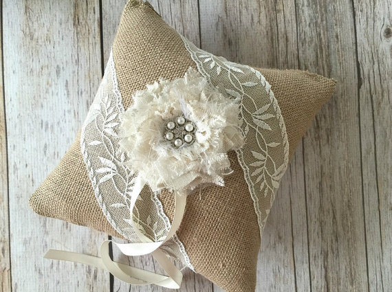 Wedding - rustic ivory lace and burlap ring bearer pillow with handmade flower and rhinestone pearl metal button.