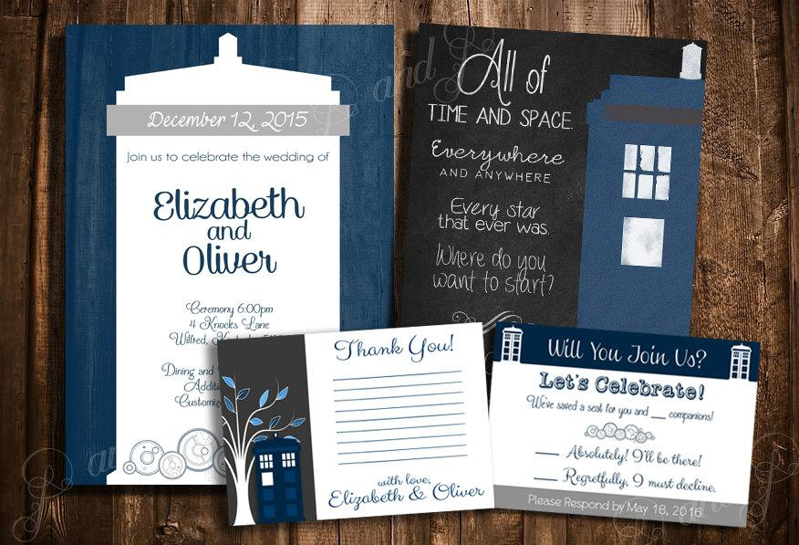 Wedding - Doctor Who TARDIS Wedding Invitation Set - Personalized Printable Wedding Stationary Kit - Create Your Own Package