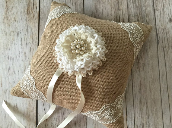 Hochzeit - rustic burlap ring bearer pillow with lace handmade flower and rhinestone pearl metal button.