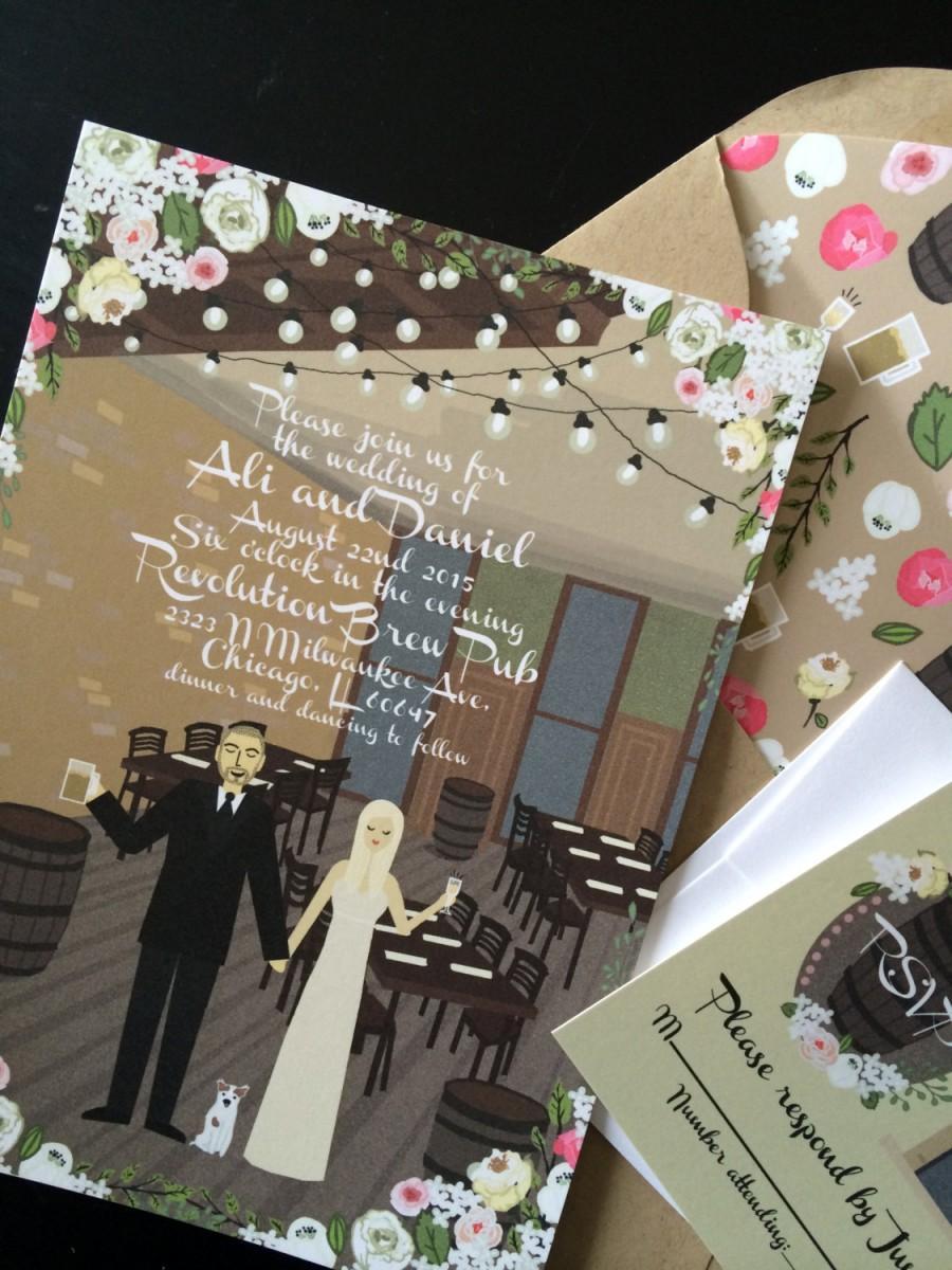 Wedding - Invite Card & RSVP : Custom Illustrated Wedding Invitations