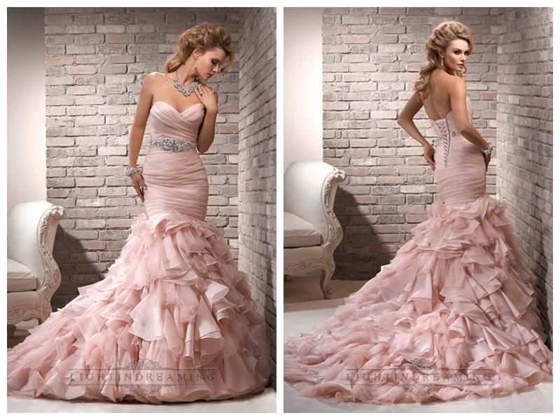 Mariage - Organza Pink Ruched Sweetheart Wedding Dresses with Mermaid Layered Skirt