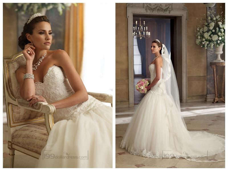 Boda - Strapless A-line Sweetheart Wedding Dresses with Scalloped Droppd Waist