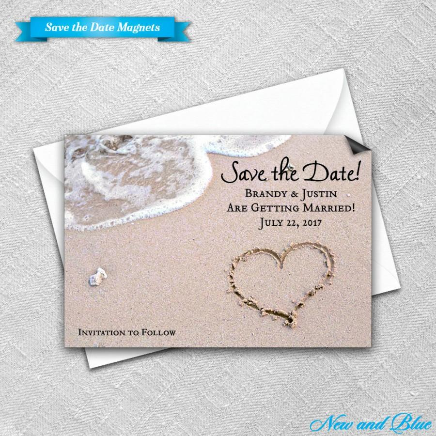 Save The Date Magnet Envelope Wedding Magnets Heart On Beach – Beach Wedding Save the Date Magnets