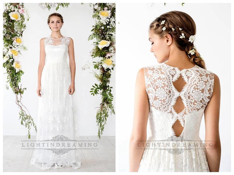 Keyhole back sheath lace wedding dress