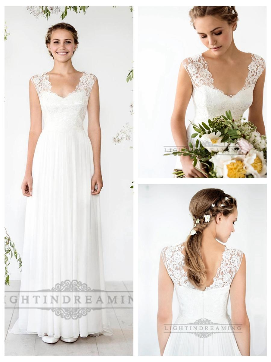 Mariage - Cap Sleeves Sheath Wedding Dress with Cut Out Back