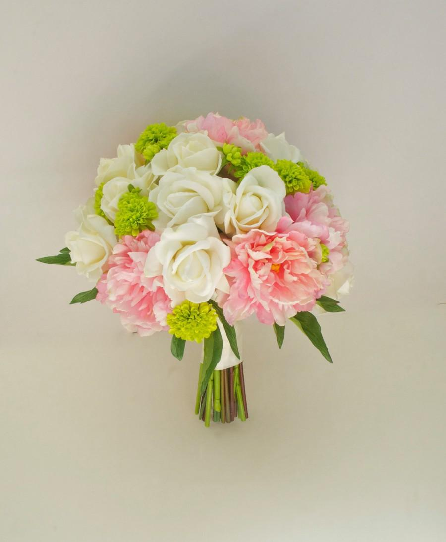 Свадьба - Large Peony Bouquet with Button Mums, 14'', (Pink, Ivory, Green, Chartreuse) Real Touch Peony Wedding Bouquet