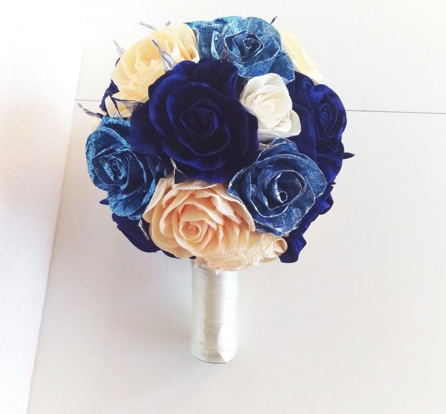 Свадьба - Royal Blue Silver glistening Wedding Bridesmaids Bouquet flowers  paper flower bridal  Flower Girl bouquet bridesmaid Royal Navy Blue silver