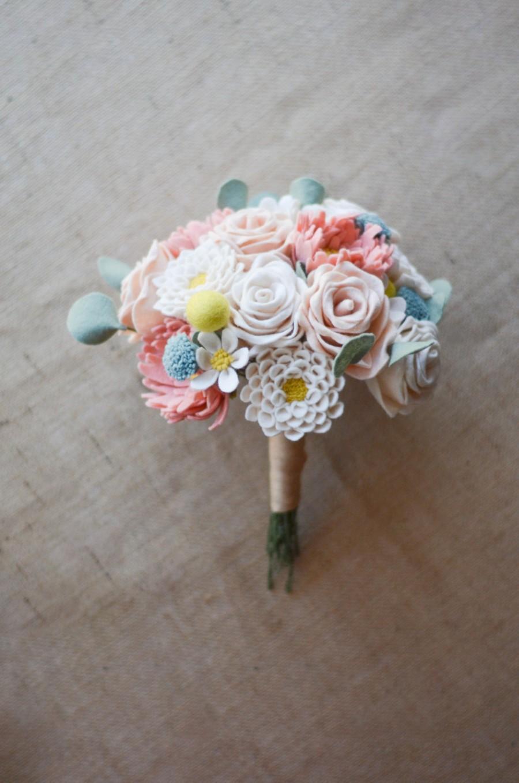 Mariage - Bride's Felt Flower Wedding Bouquet / Choose Your Own Handmade Handmade Heirloom Forever Flowers