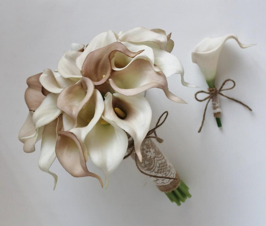 Wedding Bouquet Bridal Ivory Beige Calla Lily Real Touch