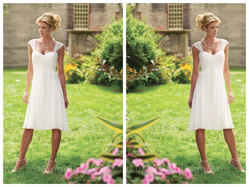 Wedding - Chiffon Tea-length A-line Sweetheart Bridal Dress with Tapered Straps
