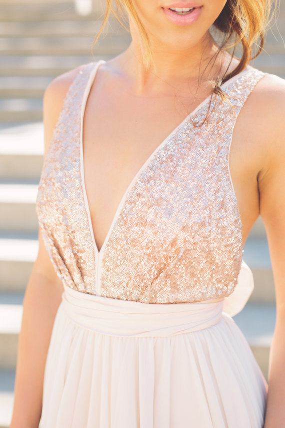 Mariage - Katie's Bridesmaid - short dresses featuring rose gold bodice and blush color chiffon skirts