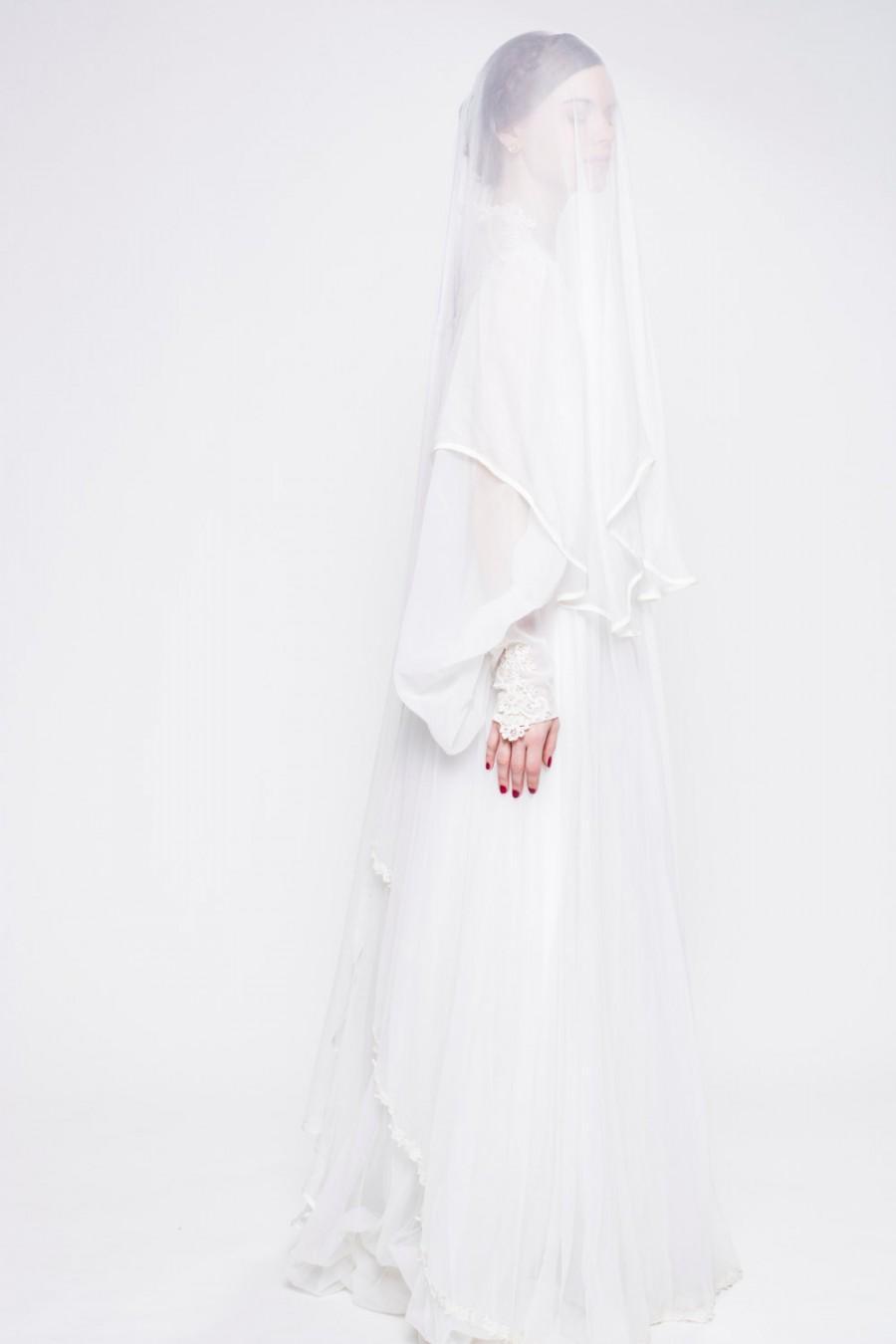 """Свадьба - Silk Ballet Length 65"""" Veil and Blusher, Custom Made"""