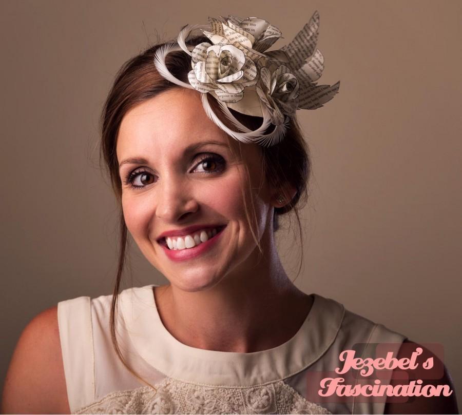 a6df4c8a28f15 Bridal Book Paper Roses Fascinator Feathers Headpiece White Cream Shabby  Kentucky Derby Headwear Bride Headdress Ascot Garden Tea Party