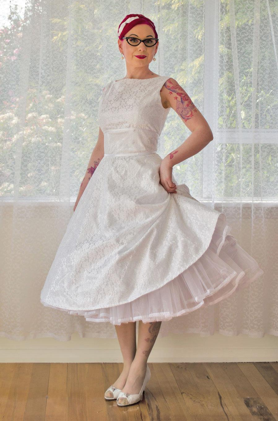 1950 S Cordelia White Wedding Dress With A Boat Neck Lace Overlay Ribbon Trim Tea Length Skirt And Petticoat Custom Made To Fit