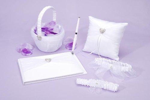 Hochzeit - 5-Piece Rhinestone Heart Guest Book Set with Pen, Ring Pillow. Flower Girl Basket. and 2 Garters