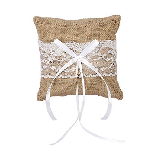 Wedding - Vintage Burlap Rustic Wedding Ring Pillow 6 inch x 6 inch