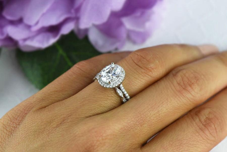 2.25 Ctw, Oval Wedding Set, Vintage Style Engagement Ring, Man Made ...