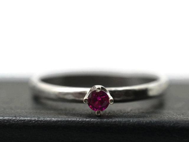 Mariage - 3mm Ruby Ring, Minimalist Engagement Ring, Handforged Silver Ring, Ruby Jewelry, Ruby Promise Ring