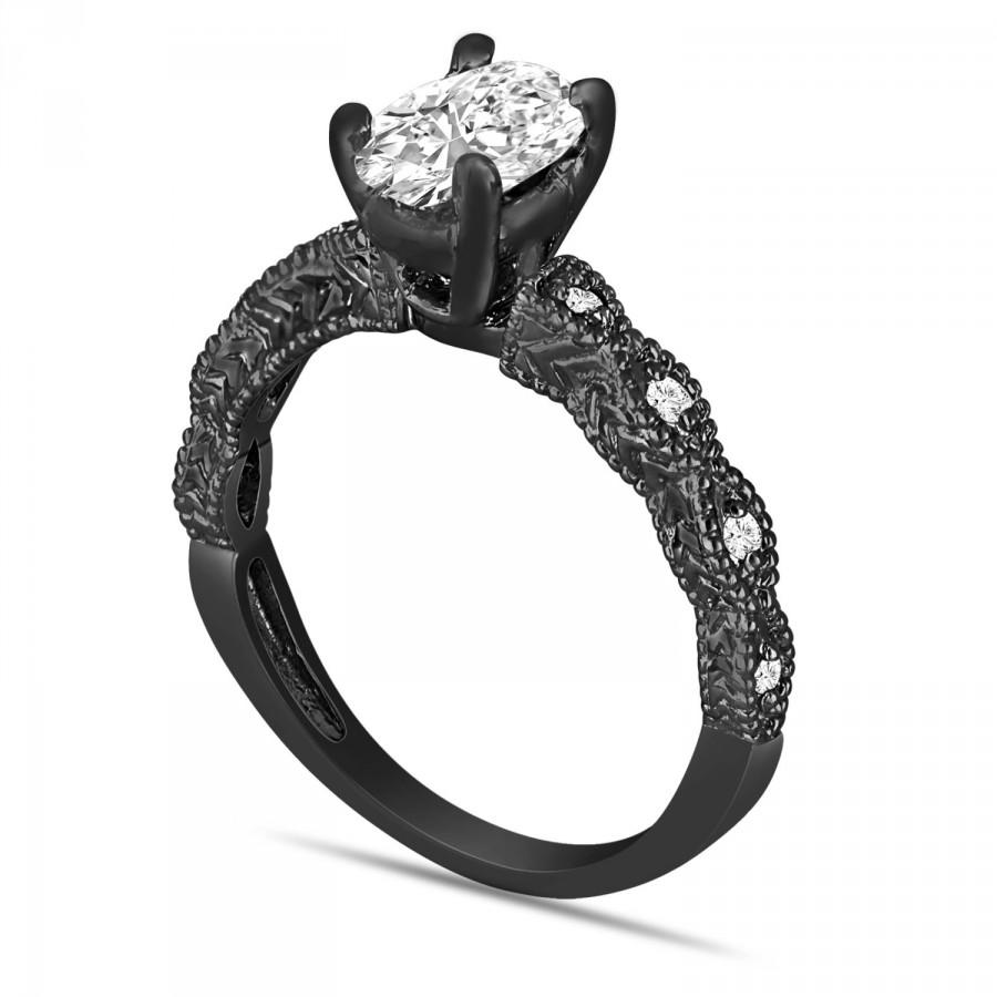 Wedding - Oval Diamond Engagement Ring Egl Certified 1.08 Carat Vintage Style 14K Black Gold or White Gold