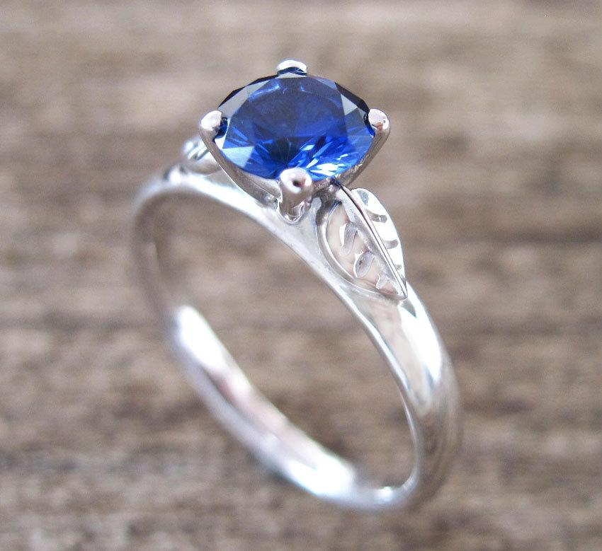 leaf engagement ring sapphire engagement ring antique