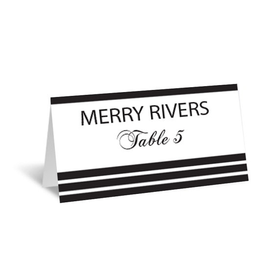Stripes Wedding Place Card Editable Pdf Template Foldover Black