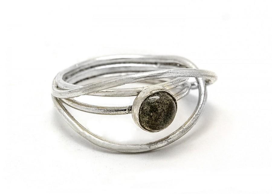 Mariage - Labradorite Ring - Labradorite Engagement ring - Labradorite Silver Ring - Faceted Ring - Sterling Silver Rings - Labradorite Jewelry