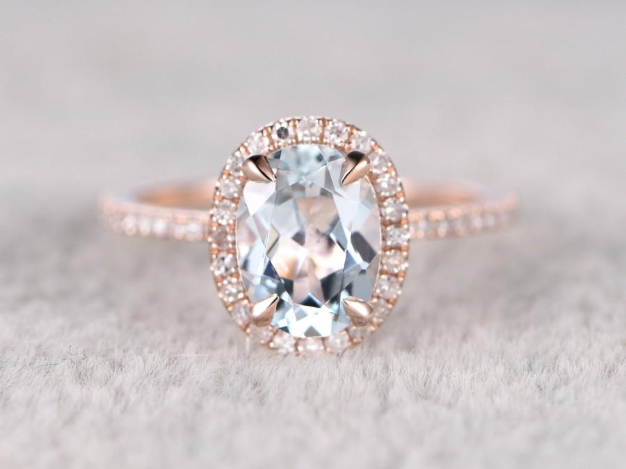 Natural Blue Aquamarine Ring Engagement Ring Rose Gold With Diamond Bridal R