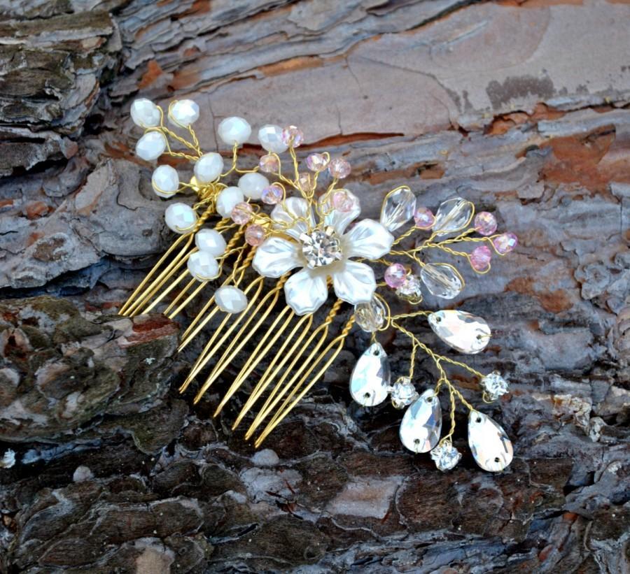 Свадьба - Pink Comb Wedding Hair Comb Bridal Hair Comb Bridal Crystal Comb Haircomb Bridal Headpiece Small Comb