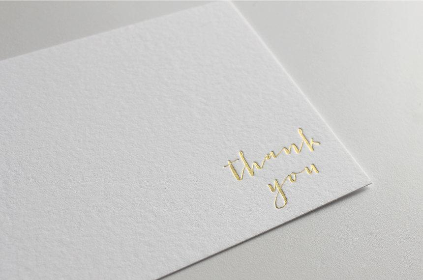 200075f40d4ca Gold Foil Thank You Cards, Letterpress Thank You Cards, Calligraphy ...