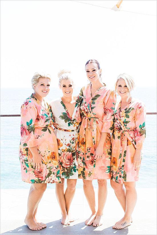 زفاف - Coral Large Floral Blossom Bridesmaids Robe Sets