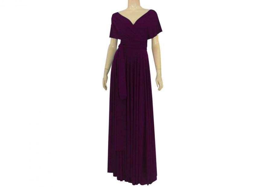 Mariage - Plum convertible long bridesmaid dress Twist wrap purple maxi dress