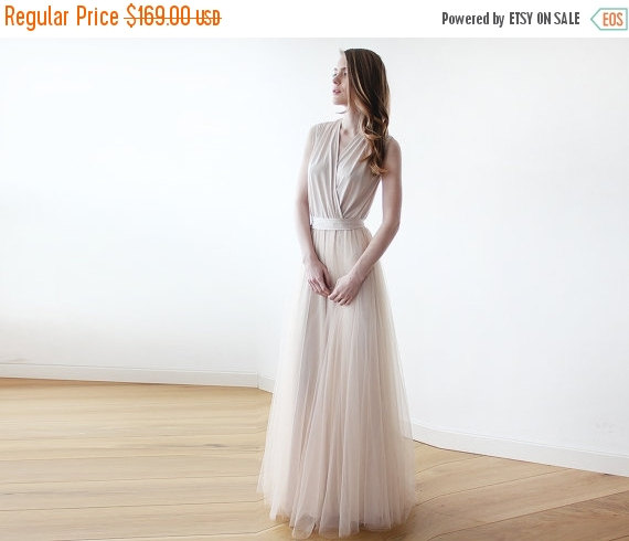 Mariage - Oscar SALE Champagne maxi tulle sleeveless gown , Bridesmaids maxi champagne tulle dress