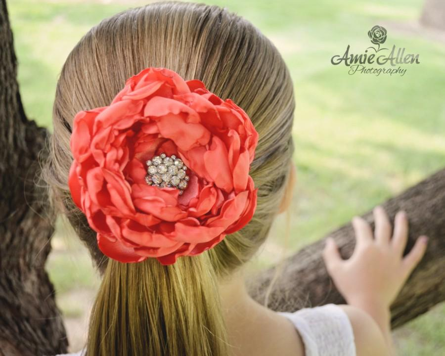 زفاف - Custom Melon Coral Bridesmaid Flower Hair Clip - Flowergirl Hair Clip - Coral  Wedding - Coral Hair Flower - Customize Your Colors