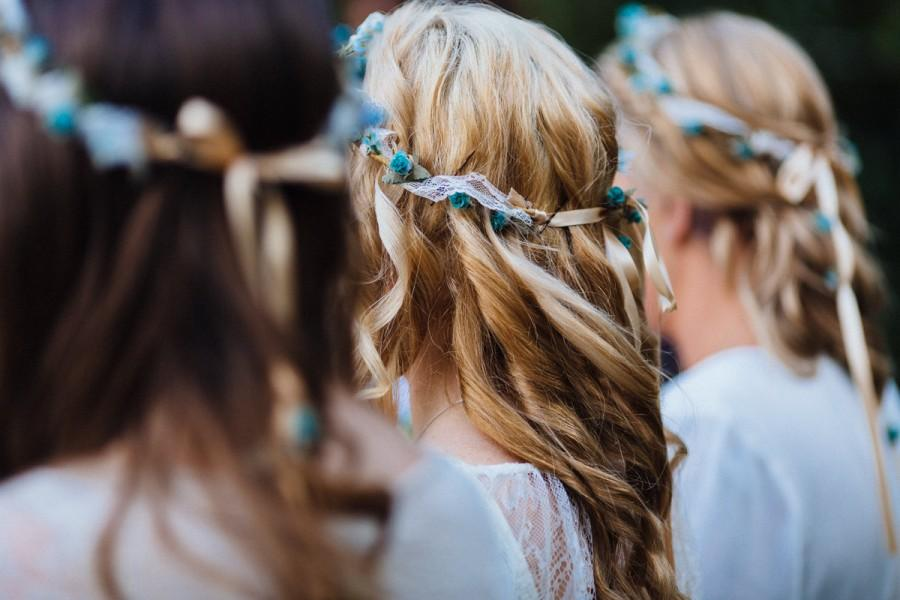 Mariage - Lace Boho Bridal Floral Crown Fall Hair Wreath Wedding Hair accessories Teal Aqua silk Renaissance headwreath bridal headpiece Celtic