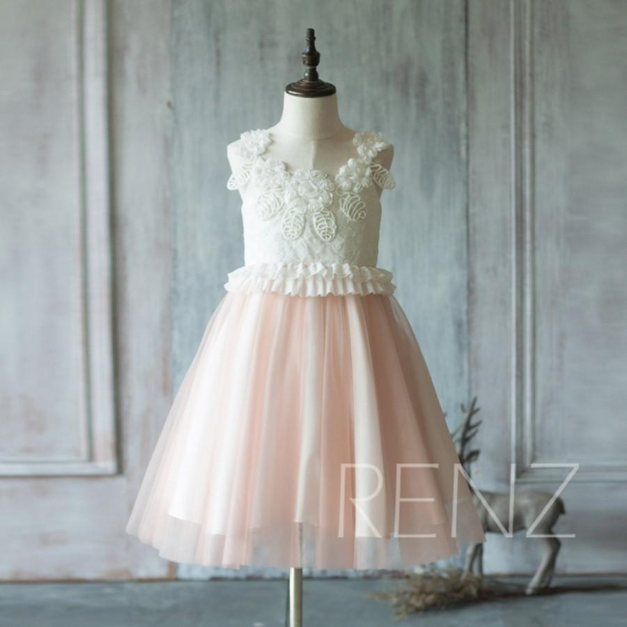 2015 White Junior Bridesmaid Dress, Peach Skirt Flower Girl Dress ...