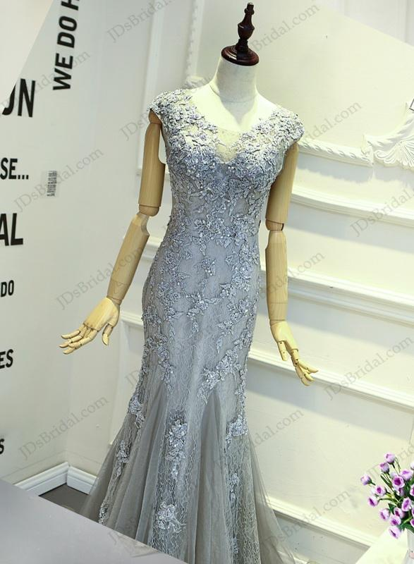 Wedding - PD16018 Gray red keyhole back cap sleeved lace sheath prom gown