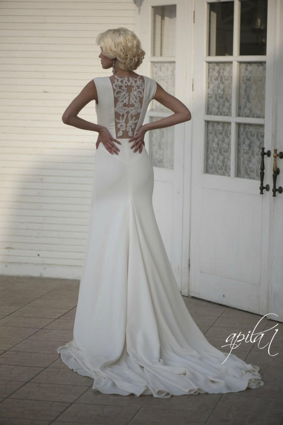 Ivory crepe open back wedding dress with train simple for Simple ivory wedding dresses