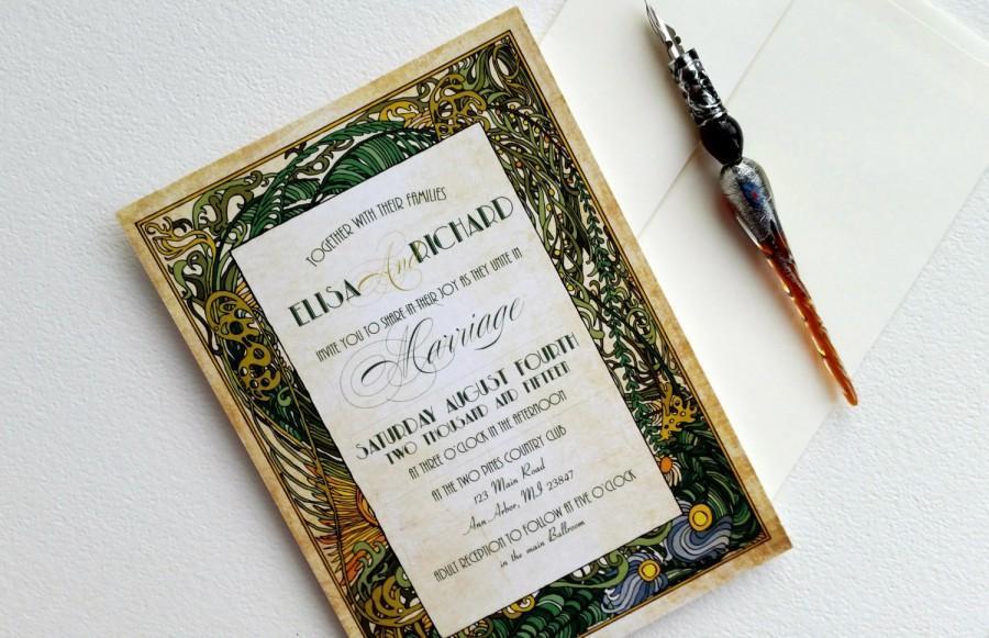 Art Deco Wedding Invitations - Retro Vintage Wedding Invitation ...
